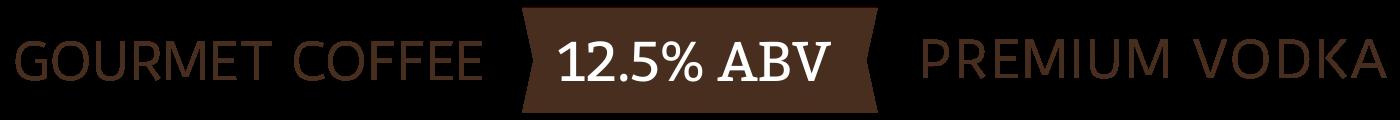 gourmet coffee, premium vodka, 12.5% ABV